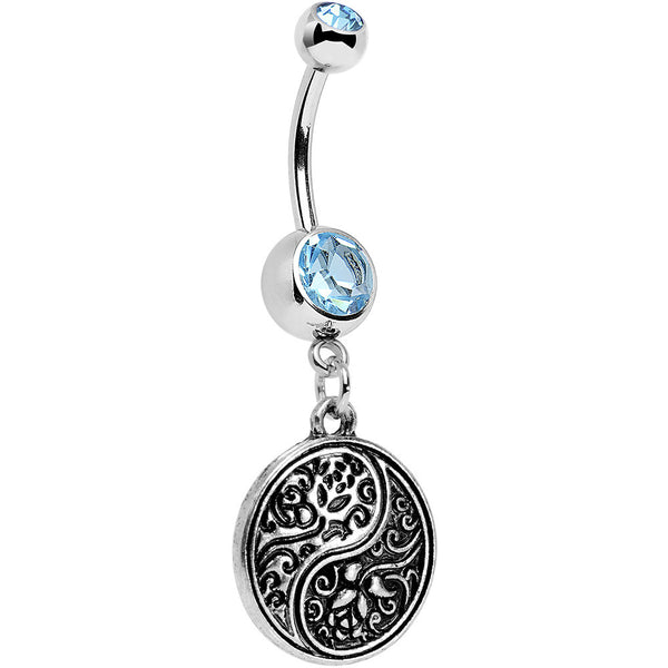Aqua Gem Floral Fantasy Yin Yang Disc Dangle Belly Ring