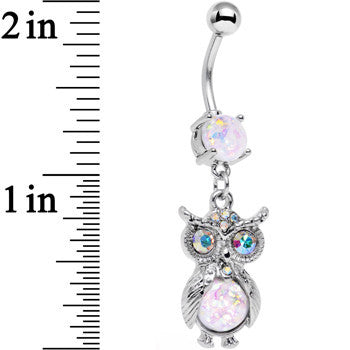 White Faux Opal Aurora Gem No Ordinary Owl Dangle Belly Ring
