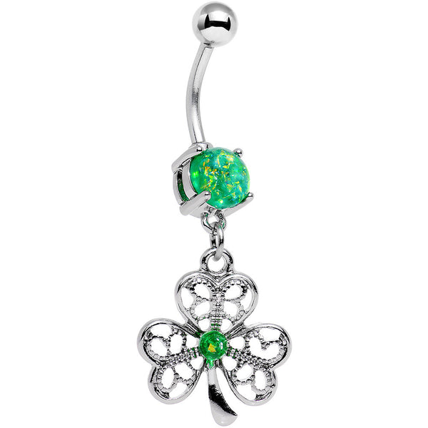 Green Faux Opal Shake Your Shamrock Dangle Belly Ring