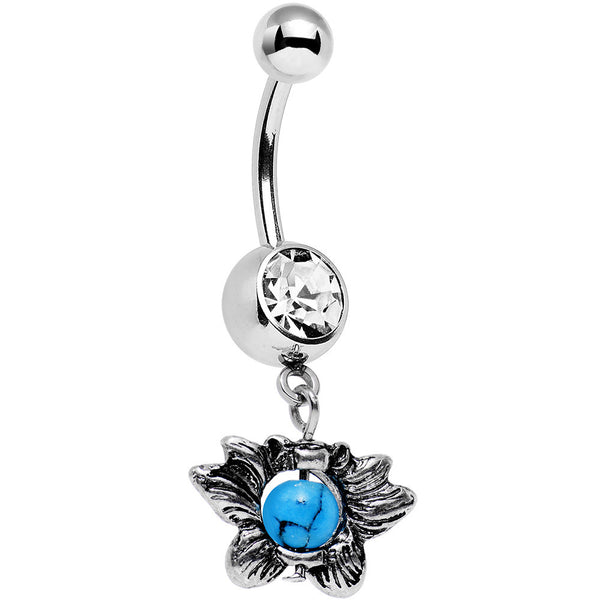 Faux Turquoise Clear Gem Delicate Style Dangle Belly Ring