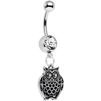 Clear Gem Ornery Owl Dangle Belly Ring