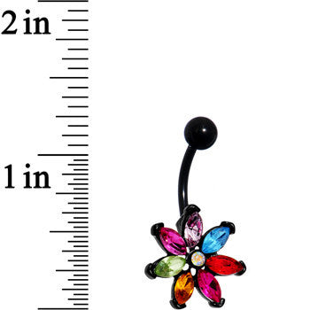 Multicolor Gem Black Anodized Flower Power Belly Ring