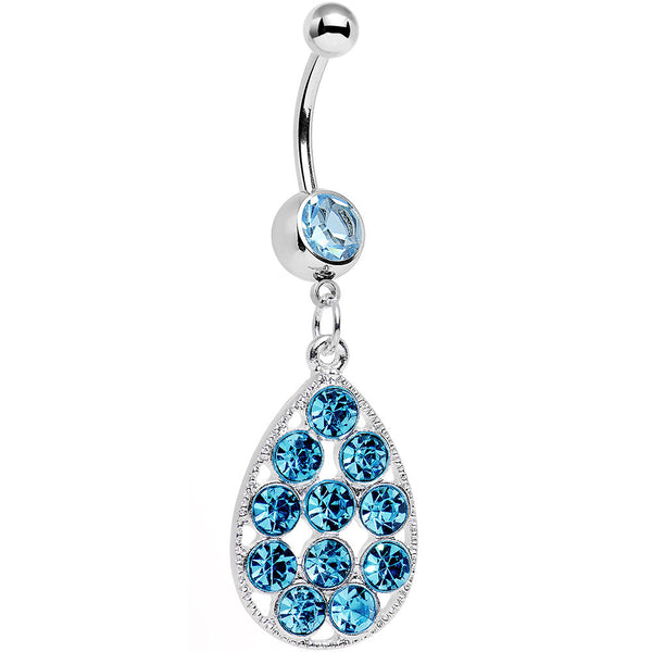Aqua Gem Steel Dingy Drop Dangle Belly Ring
