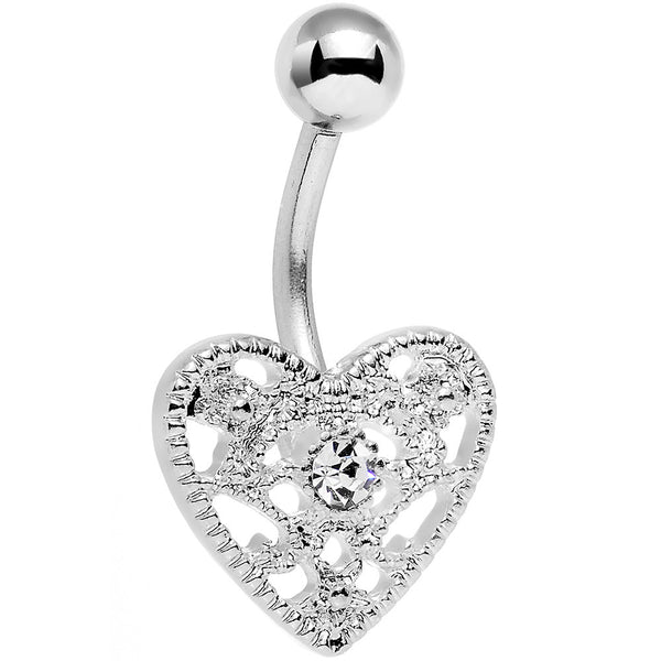 Clear Gem Heavy Heart Belly Ring