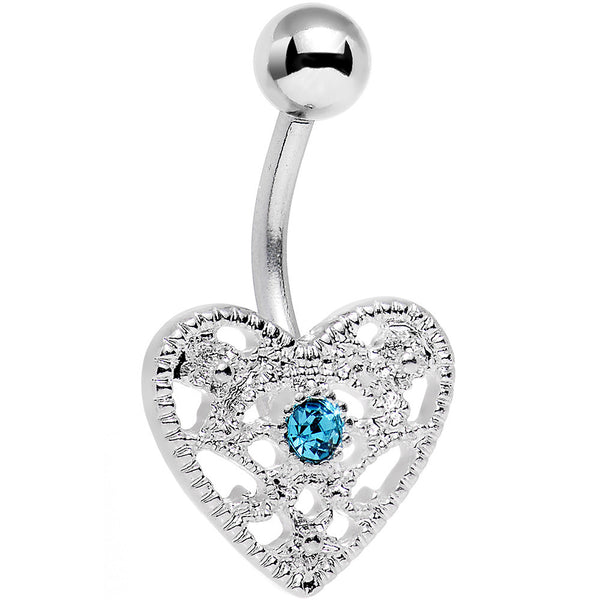Aqua Gem Heavy Heart Belly Ring