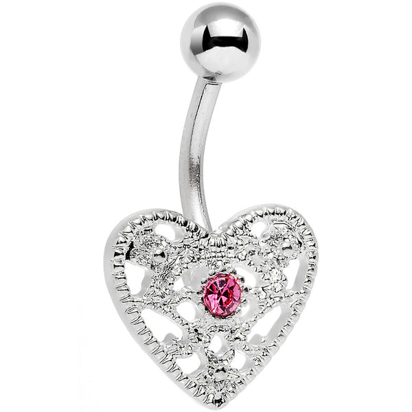 Pink Gem Heavy Heart Belly Ring