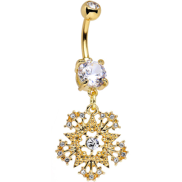 Clear Gem Gold PVD Stunning Snowflake Star Dangle Belly Ring
