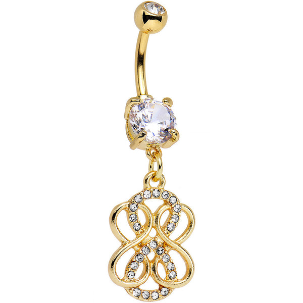 Clear Gem Gold PVD Mobius Strip Infinity Dangle Belly Ring