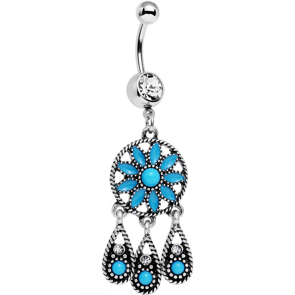 Faux Turquoise Dreamy Southwest Dreamcatcher Dangle Belly Ring