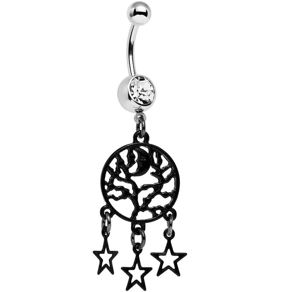 Clear Gem Nighttime Treetop Moon and Stars Dangle Belly Ring