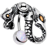 White Faux Opal Dreamy Eye Dragon Top Mount Belly Ring