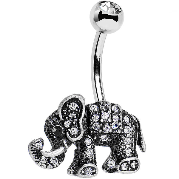 Clear Gem Lucky Little Elephant Belly Ring