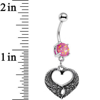 Pink Faux Opal Laurel Heart Dangle Belly Ring