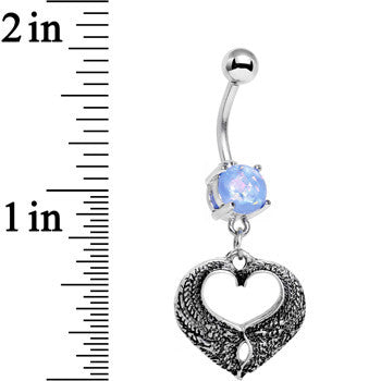 Light Blue Faux Opal Laurel Heart Dangle Belly Ring