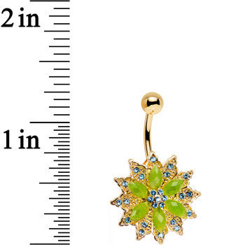 Green Aqua Gem Gold Anodized Starbust Power Flower Belly Ring