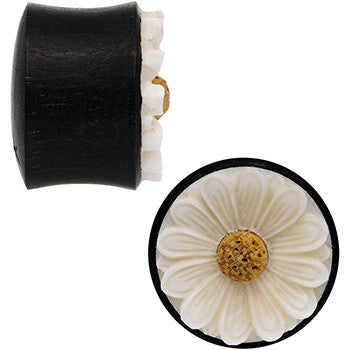 3/4 Gauge Organic Black Wood White Detailed Daisy Flower Saddle Plug Set