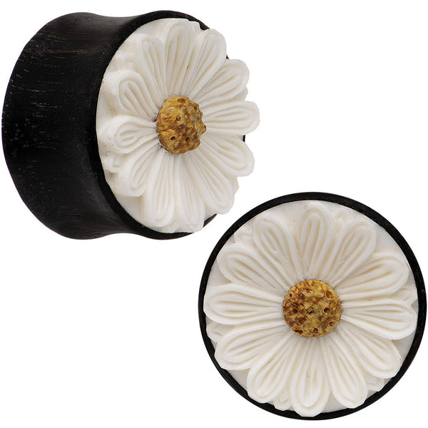 7/8 Gauge Organic Black Wood White Detailed Daisy Flower Saddle Plug Set