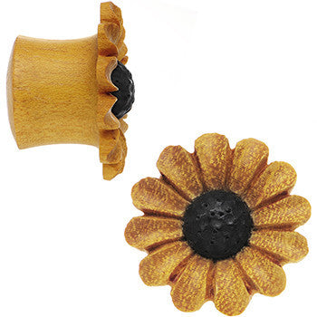 5/8 Organic Blonde Wood Fresh Sunflower Saddle Plug Set
