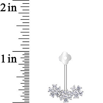 316L Stainless Steel Cubic Zirconia Winter Snowflake Earring Jacket