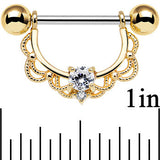 14 Gauge 5/8 Clear CZ Steel Gold Plated Scalloped Dangle Nipple Ring Set