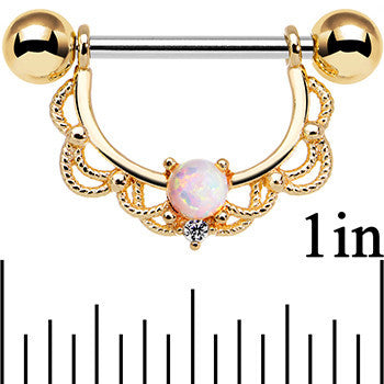 14 Gauge 5/8 White Synthetic Opal Gold Plated Scalloped Nipple Ring Set