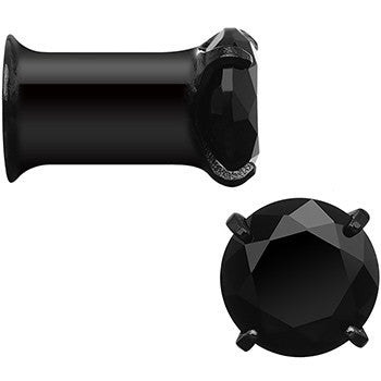 4 Gauge Black CZ Gem Black IP Bling Double Flare Plug Set