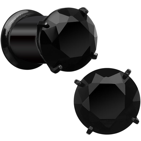 2 Gauge Black CZ Gem Black IP Bling Double Flare Plug Set