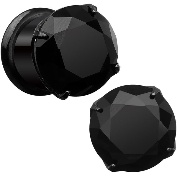 00 Gauge Black CZ Gem Black IP Bling Double Flare Plug Set