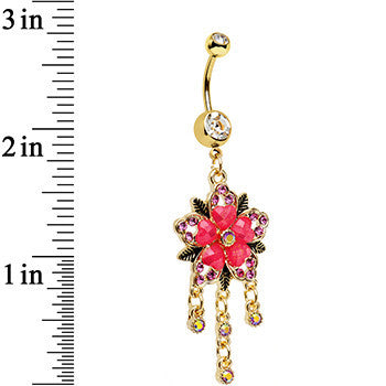 Clear Pink Aurora Gem Gold Anodized Heart Flower Dangle Belly Ring