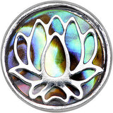 16 Gauge 1/4 Abalone Shell Steel Lotus Flower Tragus Cartilage Earring
