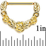 "14 Gauge 9/16"" Gold Anodized Floral Wreath Nipple Clicker Set"