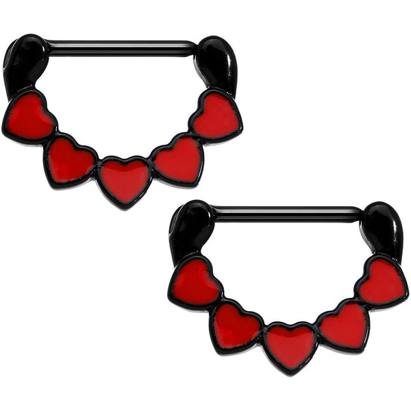 "14 Gauge 9/16"" Black Anodized Line Up Your Love Heart Nipple Clicker Set"
