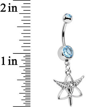 Aqua Gem Heroic Heralds Staff and Trinity Dangle Belly Ring