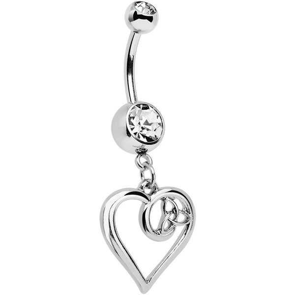 Clear Gem Twisted Trinity Heart Dangle Belly Ring