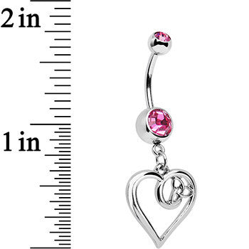 Pink Gem Twisted Trinity Heart Dangle Belly Ring