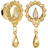 9/16 White Faux Opal Gold Anodized Ornate Dangle Tunnel Plug Set