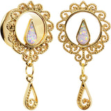 5/8 White Faux Opal Gold Anodized Ornate Dangle Tunnel Plug Set