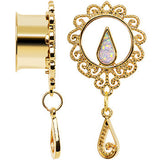 "5/8"" White Faux Opal Gold Anodized Ornate Dangle Tunnel Plug Set"