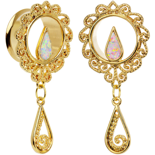 3/4 White Faux Opal Gold Anodized Ornate Dangle Tunnel Plug Set