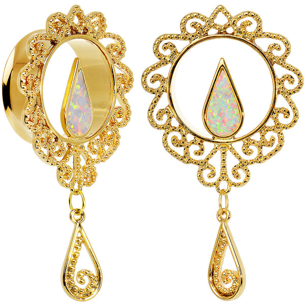 25mm White Faux Opal Gold Anodized Ornate Dangle Tunnel Plug Set