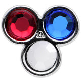 Red White and Blue Gem All American Barbell Tongue Ring