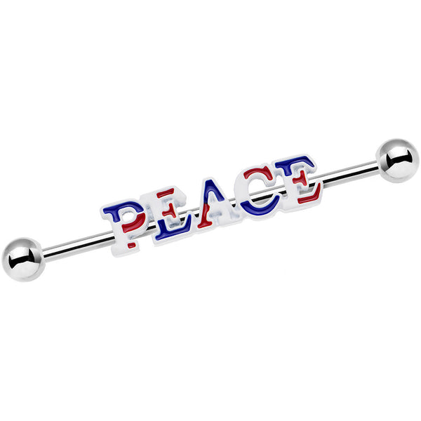 14 Gauge Red White and Blue Text Peace Industrial Barbell 38mm