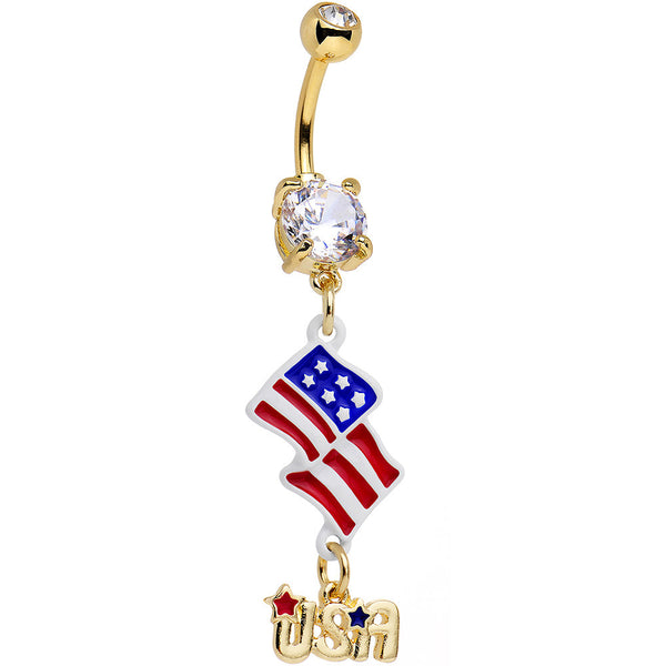 Clear CZ Gem Gold Anodized American Flag USA Dangle Belly Ring