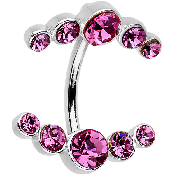Pink Gem Mirrored Double Mount Belly Button Ring