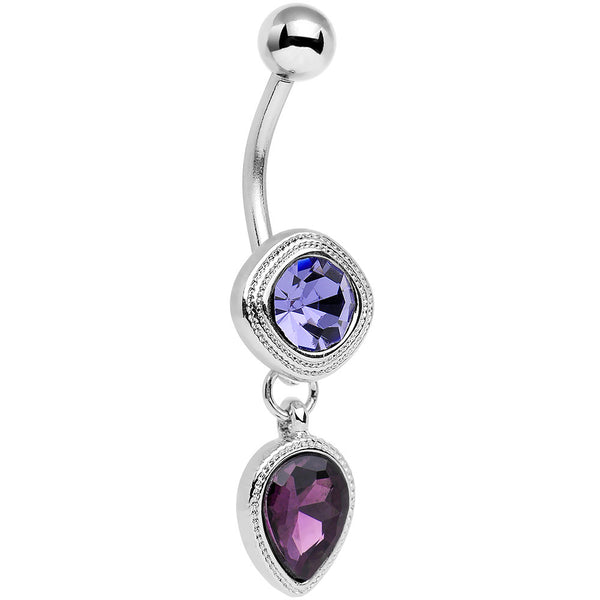 Violet Plum Purple CZ Gem Simpe Sass Dangle Belly Ring