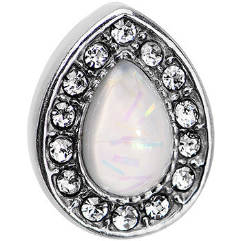 16 Gauge 1/4 White Faux Opal Clear CZ Teardrop Cartilage Earring