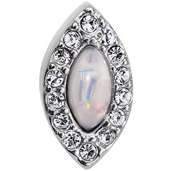16 Gauge 1/4 White Faux Opal Clear CZ Marquis Cartilage Earring