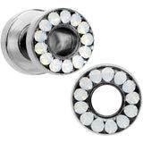 4 Gauge White Faux Opal Screw Fit Tunnel Plug Set