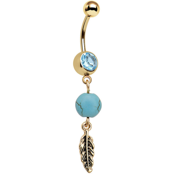 Faux Turquoise Gold Anodized Freedom Feather Dangle Belly Ring