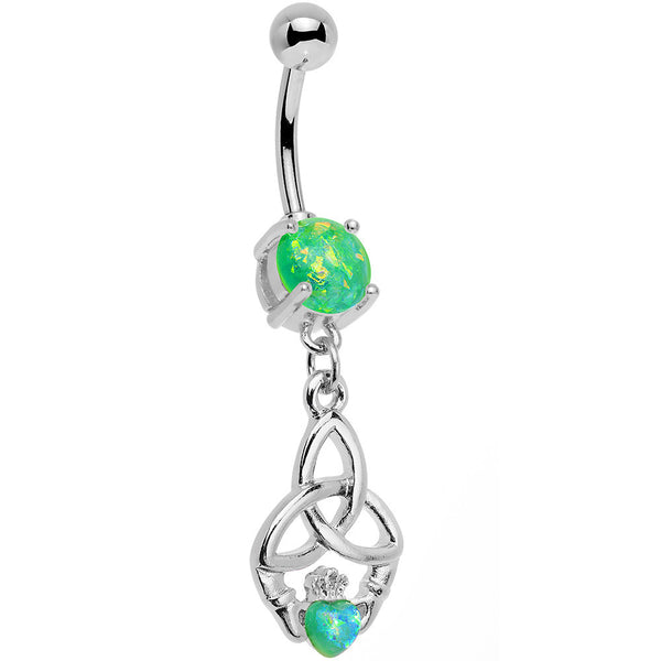 Green Faux Opal Trinity Claddagh Dangle Belly Ring